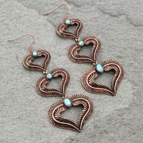 Jewelry - Western Heart Fish Hook Earrings